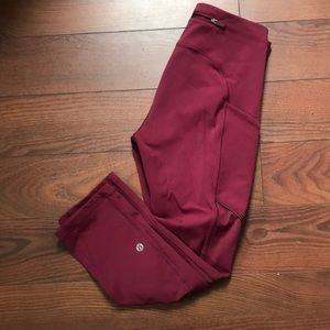 Maroon 3/4 Lululemon Leggings